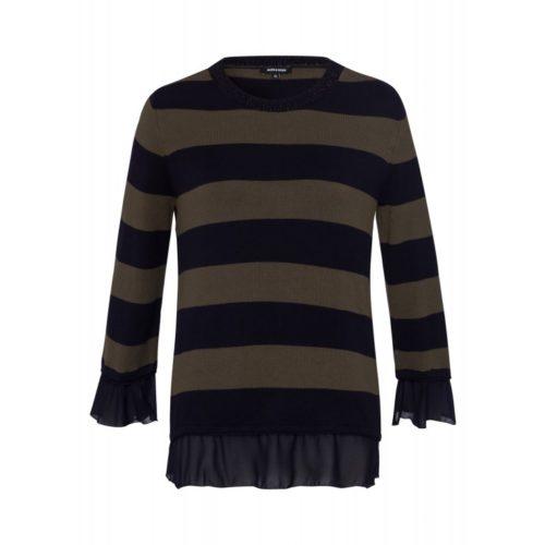Pullover, khaki/marine gestreift