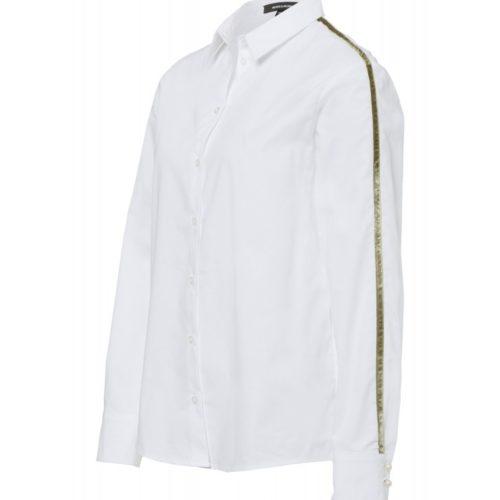 weißes Popelinehemd, Samtstreifen