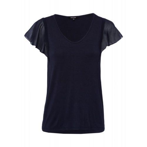 T-Shirt, Chiffon-Ärmel, marine
