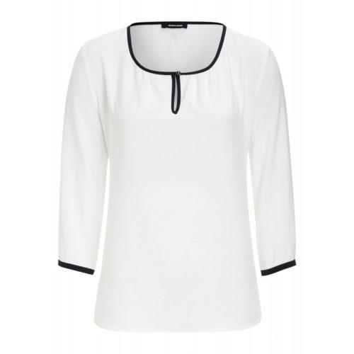 Bluse mit Paspel, weiß/marine