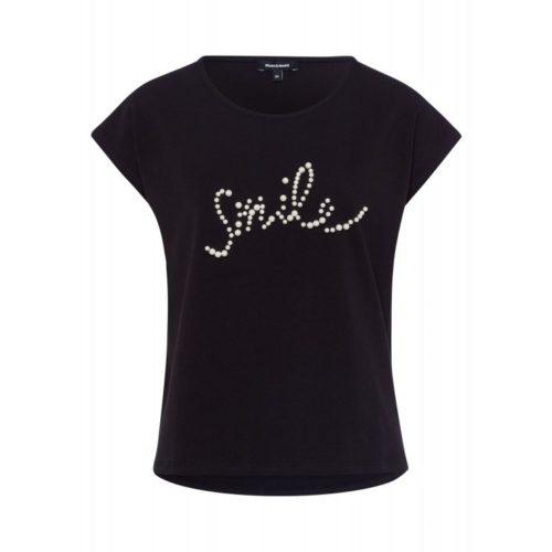 T-Shirt, Perlen-Schriftzug, schwarz