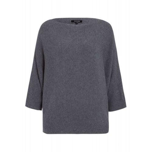 weiter Fledermaus-Pullover, grau