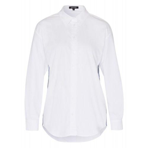 Popelinehemd, Ripsstreifen, weiß