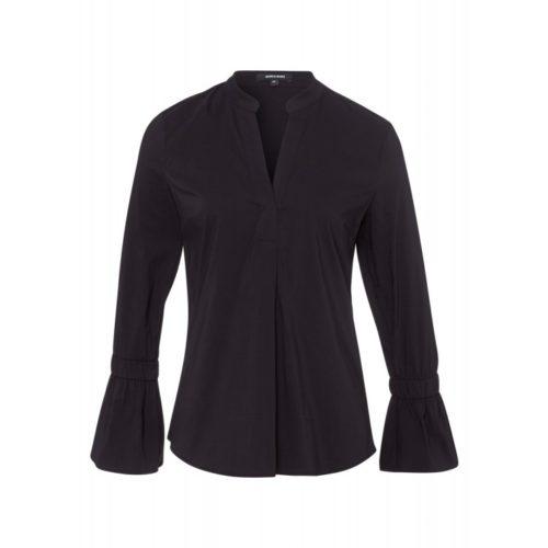 schwarze Bluse, Volant-Ärmel