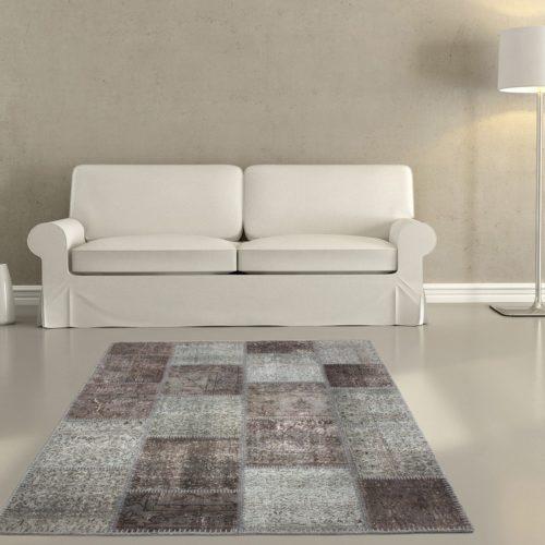 DELIFE Teppich Sienna 160x230 cm Grau Wolle Patchwork, Teppiche