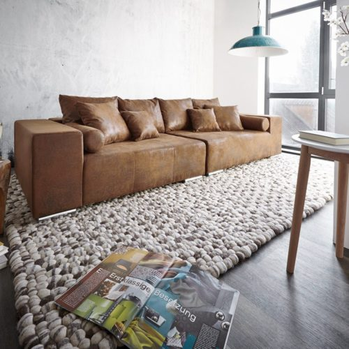 DELIFE Big-Sofa Marbeya 285x115 Braun Antik Optik mit 10 Kissen, Big Sofas