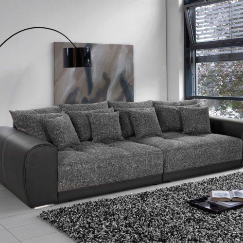 DELIFE Big-Sofa Valeska 310x135 Schwarz Strukturstoff 12 Kissen, Big Sofas