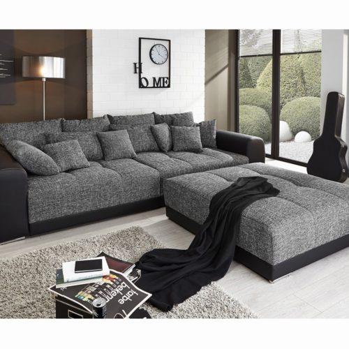 DELIFE Big-Sofa Valeska 310x135 Schwarz mit Hocker und Kissen, Big Sofas