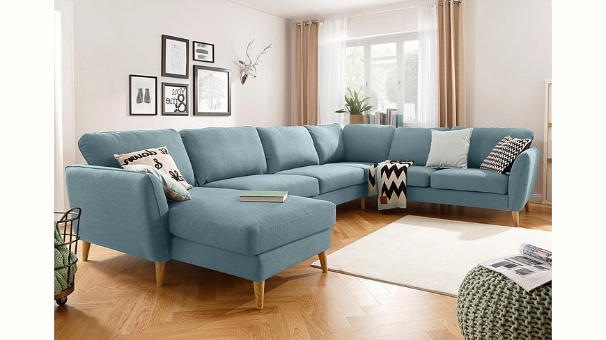 Home affaire Wohnlandschaft »Marseille«, in skandinavischem Stil, in 3 Bezugsqualitäten, Holz-Beine