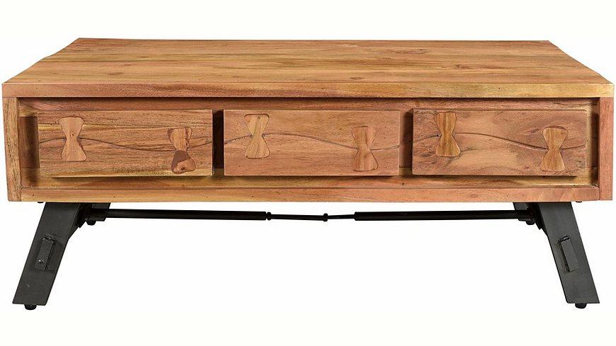 SIT Couchtisch »Edge«, aus Akazienholz mit Metalluntergestell, mit 6 Schubladen, Breite 110 cm