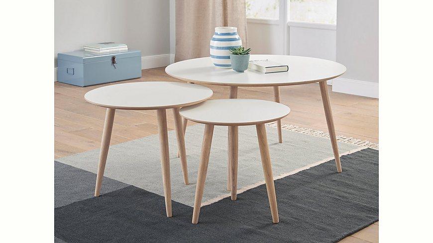 andas Couchtisch-Set «Yvonne», 3 runde Tische in verschiedenen Größen