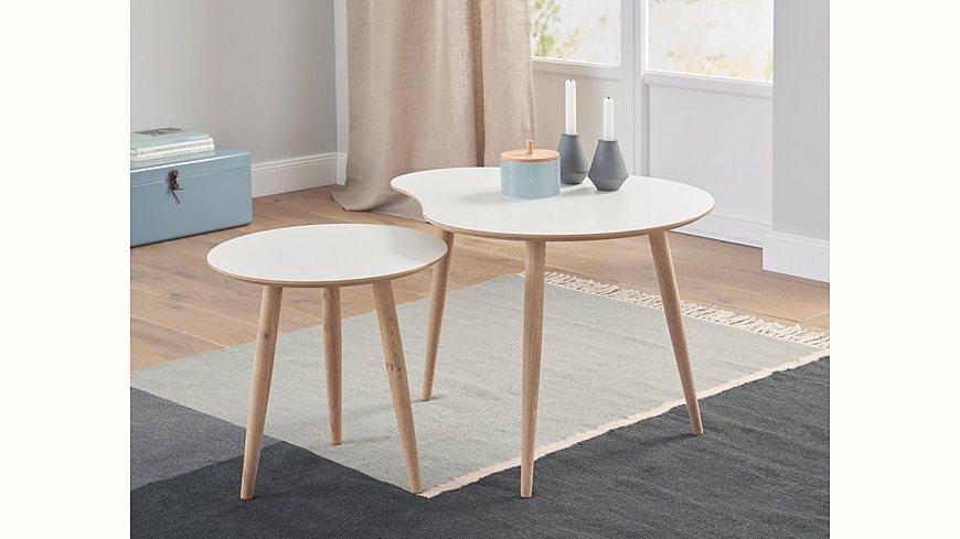 andas Couchtisch-Set «Yvonne», Set aus 1 rundem und 1 nierenförmigem Tisch, 2 Größen zur Auswahl