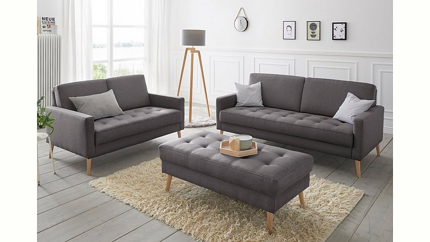 andas Set 2- und 2, 5-Sitzer »Kiara«, Steppung im Sitzbereich, Holzfüße