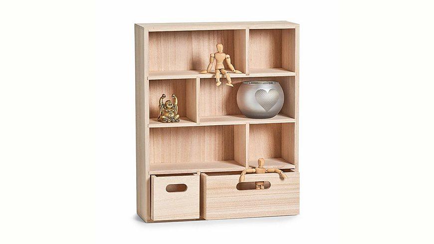andas Wand-Regal m. Schubladen, Holz 46x35x11