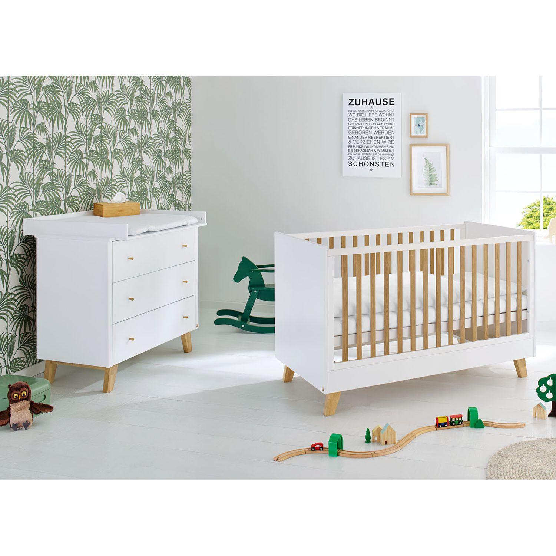 Babyzimmerset Pan Kids (2-teilig) - Weiß / Eiche, Pinolino