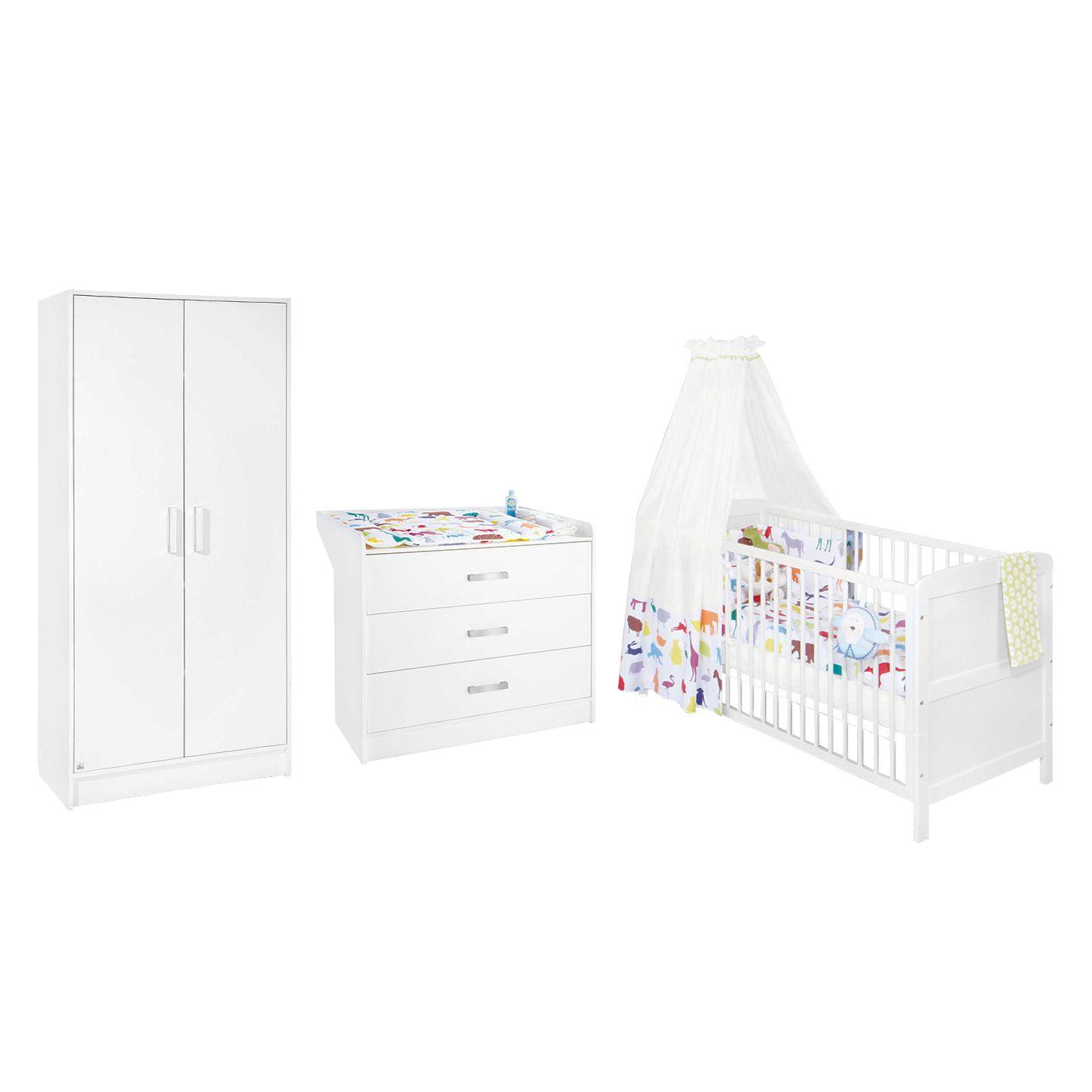 Kinderzimmer Viktoria (3-teilig) - Kiefer teilmassiv - Weiß, Pinolino