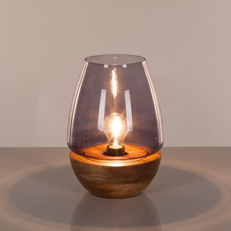 EEK A++, Tischleuchte Mourenx - Glas / Bambus - 1-flammig - 27, Eva Padberg Collection