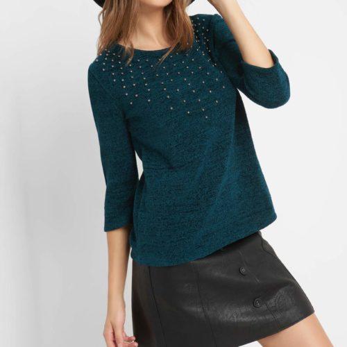¾-Pullover mit Perlen