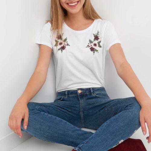 T-Shirt mit Blumenstickerei