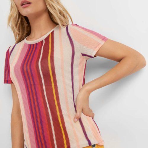 Shirt aus Mesh mit Streifen