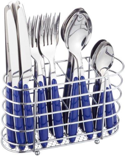 24-tlg. Besteck JENNIFER aus Edelstahl 18/0,  poliert. Farbe: blau, mit ovalem, verchromten Besteckkorb. Im Geschenkkarton.