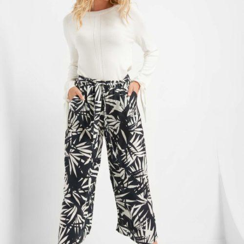 Culotte-Hose mit Blattmuster