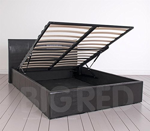 4'15,2cm Leder Double Bett mit Stauraum in braun   nur Rahmen   niedrigem Fußteil
