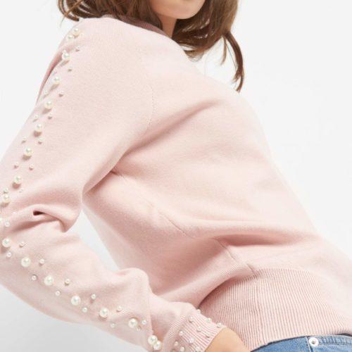 Pullover mit Perlen-Besatz