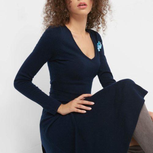 Midi-Kleid mit Schmucksteinen