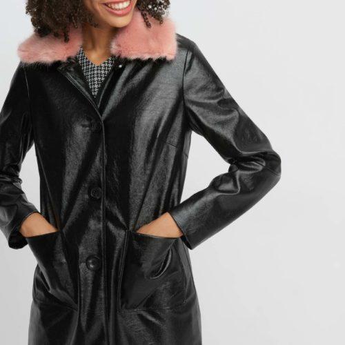 Mantel mit Kunstpelzkragen