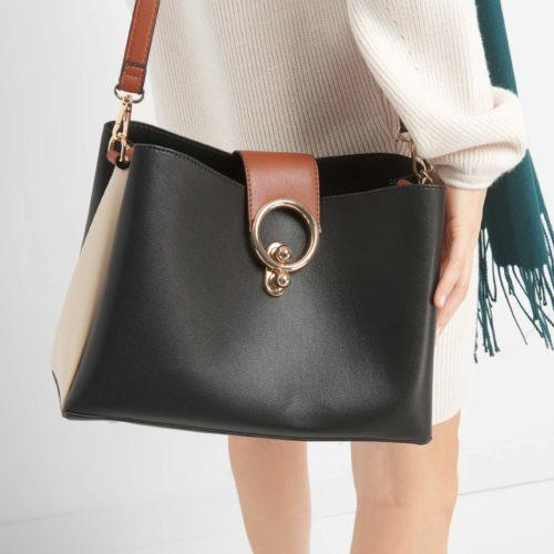 Dreifarbige Handtasche
