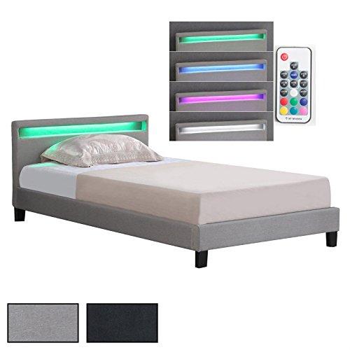 CARO-Möbel Polsterbett Einzelbett Doppelbett SATOKA, Inklusive Rollrost und LED Beleuchtung, Designbett mit Stoffbezug, 120 x 200 cm