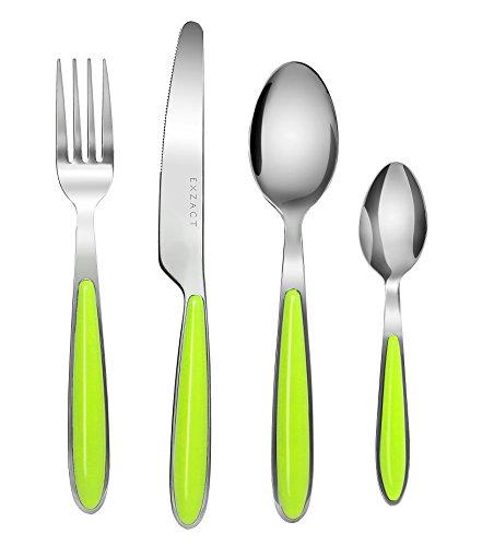 EXZACT EX07-24 teiliges Besteckset/Edelstahl-Besteck - Rostfreier Stahl mit farbigen Griffen - 6 Gabeln, 6 Messer, 6 Esslöffel, 6 Teelöffel (Grün x 24)