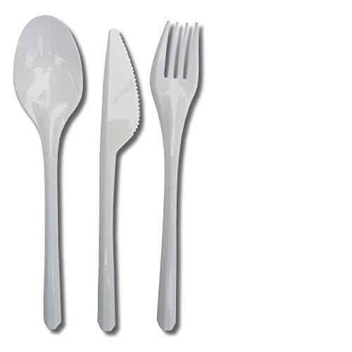 Eden Plastikbesteck - 300-Teiliges Stabiles Einweg Besteck Set aus Plastik mit 100 Gabeln, 100 Löffel und 100 Messer