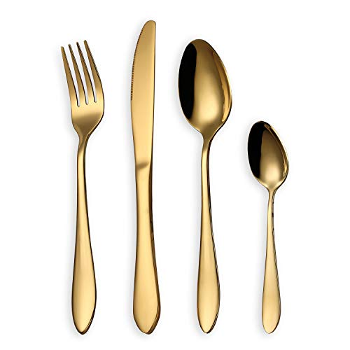 HOMQUEN Besteck Set, Gold Besteck Set, Edelstahl Set Service für 6 Personen, 24 Stück Esszimmer Besteck