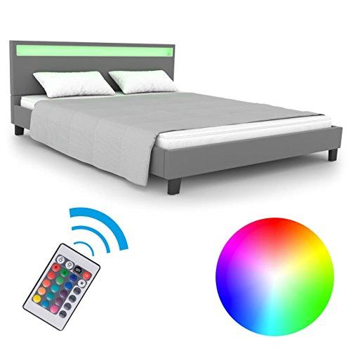 Homelux LED Bett PU Polsterbett Doppelbett Kunstlederbett Bettgestell Bettrahmen Größen