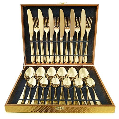 Magicpro Besteck Set, Gold Besteck Set, Edelstahl Set Service für 6 Personen, 24 Stück Esszimmer Besteck