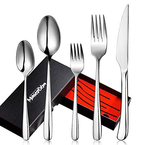 Mascot XM Besteckset,Besteck aus rostfreiem Stahl 5-teiliges Edelstahl Besteck Set mit Messer Löffel Gabel- Spiegelpolitur & Spülmaschinenfest