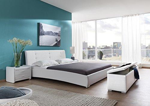 SAM Design Polsterbett 140x200 cm Bastia in weiß, Kopfteil abgesteppt, auch als Wasserbett verwendbar