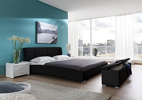 SAM Design Polsterbett 160x200 cm Bastia in schwarz, Kopfteil abgesteppt, auch als Wasserbett verwendbar