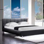 SAM Polsterbett 160x200 cm Zarah in schwarz, Chrom Füße, Kopfteil im abgesteppten Design, Wasserbett geeignet