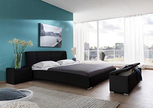 SAM Polsterbett 90x200 cm Bastia, schwarz, Design-Bett mit Kunstlederbezug & Stoff, abgestepptes Kopfteil