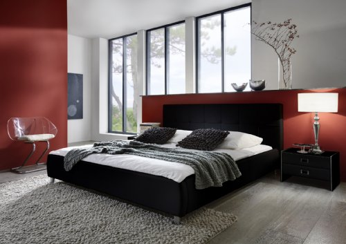 SAM Polsterbett Bett Zarah in schwarz 140 x 200 cm Kopfteil im abgesteppten modernen Design Chrom farbene Füße Wasserbett geeignet