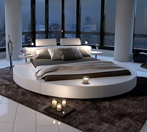SAM® Polsterbett in weiß, Rundbett mit gepolstertem Kopfteil, Beleuchtung und zwei Nachttischablagen, Bettgestell auch als Wasserbett verwendbar, 140 x 200 cm