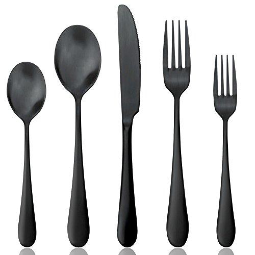 Schwarz Besteck Set, Aoosy 5-teilig 18/10 Edelstahl Messer, Gabel und Löffel Set(Mattschwarz, 1 Personen)