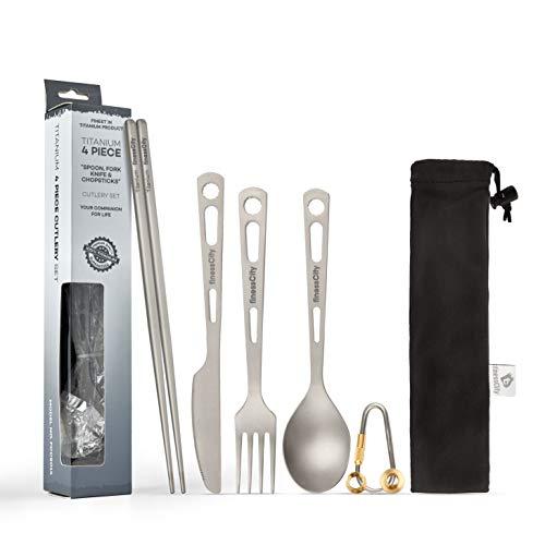 Titan Utility-Besteck Set Extra stark Ultraleicht (Ti), Gesund & Umweltfreundlich 3/4-teilig Essstäbchen Messer Gabel Löffel Set für den Heimgebrauch / Reisen / Camping Besteck-Set im praktischen Aufbewahrungsetui (4 Piece Cutlery Set)