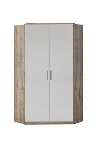 Wimex 327511 Drehtürenschrank, Holz, san remo eiche/alpinweiß, 95 x 95 x 198 cm