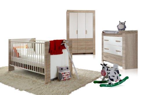 Wimex 384381 Babyzimmer Set Emily bestehend aus Kleiderschrank 3-türig 135 cm, Babybett 70 x 140 cm, Kommode und Wickelaufsatz, Eiche Sägerau Nachbildung, Absetzung, alpinweiß