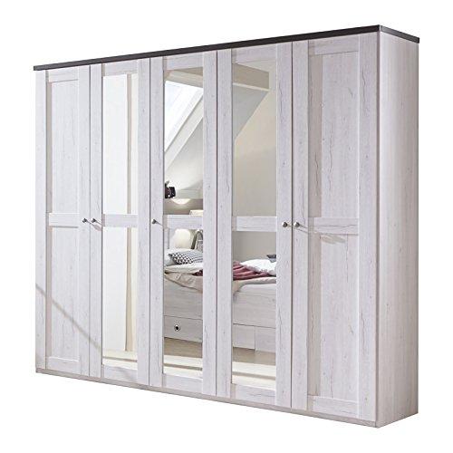 Wimex 980566 Drehtürenschrank 225 x 210 x 58, 3 Spiegel, weißeiche Nachbildung, Absetzung lavafarbig