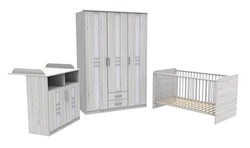 Wimex Bornholm Kleiderschrank, Babybett und Wickelkommode, Holz, Weißeiche, 140 x 198 x 301 cm